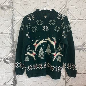 Vintage angora blend Christmas reindeer turtleneck